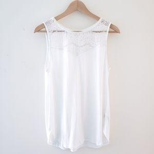 H&M White Lace Trim Tank Top Size Medium